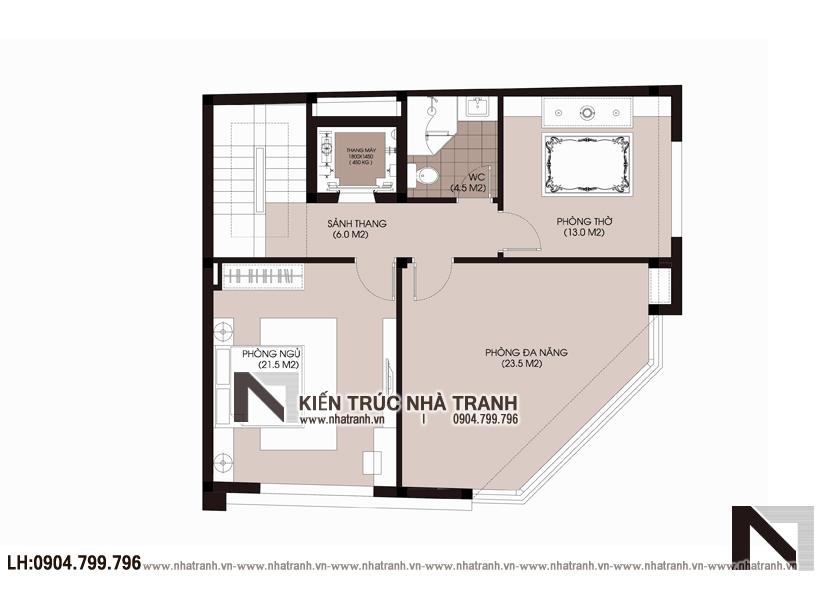 Ảnh: Mặt bằng tầng 05 mẫu thiết kế nhà lô góc 2 mặt tiền 6 tầng để ở kết hợp kinh doanh NT-L3671