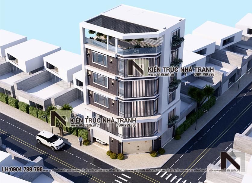 Ảnh: Phối cảnh tổng thể mẫu thiết kế nhà lô góc 2 mặt tiền 6 tầng để ở kết hợp kinh doanh NT-L3671