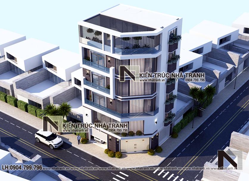 mẫu thiết kế nhà lô góc 2 mặt tiền 6 tầng để ở kết hợp kinh doanh NT-L3671