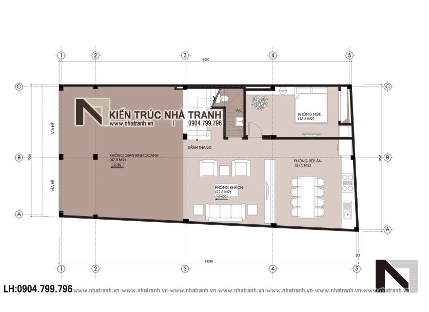 Mặt bằng quy hoạch tổng thể mẫu thiết kế biệt thự lô 1 mặt tiền 7m 8m 3 tầng hiện đại, ở kết hợp kinh doanh NT-L3676: