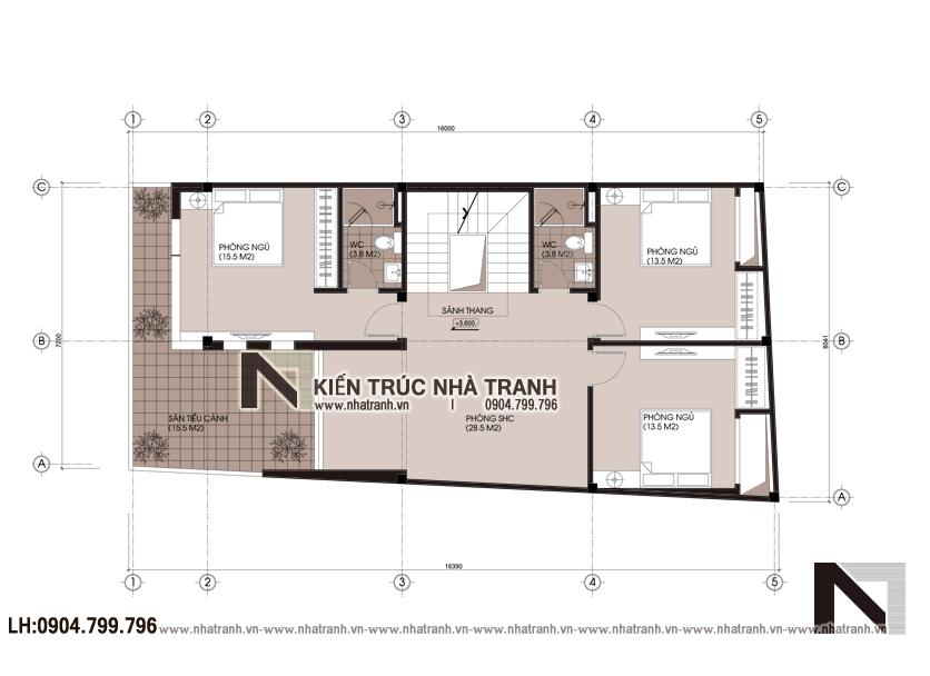 Mặt bằng tầng 2 mẫu thiết kế biệt thự lô 1 mặt tiền 7m 8m 3 tầng hiện đại, ở kết hợp kinh doanh NT-L3676: