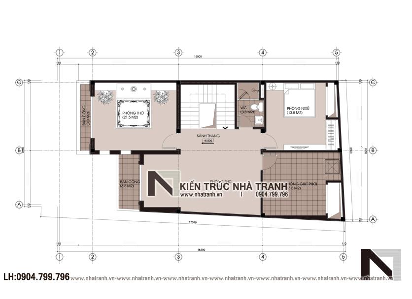 Mặt bằng tầng 3 mẫu thiết kế biệt thự lô 1 mặt tiền 7m 8m 3 tầng hiện đại, ở kết hợp kinh doanh NT-L3676: