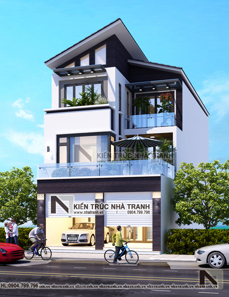 Phối cảnh tổng thể mẫu thiết kế biệt thự lô 1 mặt tiền 7m 8m 3 tầng hiện đại, ở kết hợp kinh doanh NT-L3676: