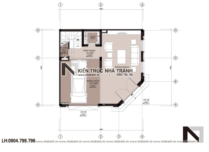 Ảnh: Mặt bằng tầng 1 mẫu thiết kế nhà lô góc 2 mặt tiền 5 tầng kiến trúc Pháp NT-L3673