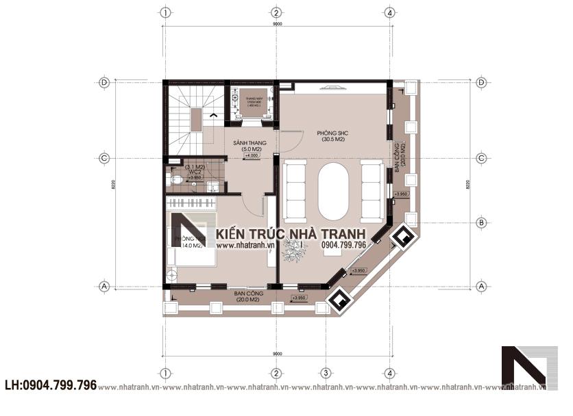Ảnh: Mặt bằng tầng 2 mẫu thiết kế nhà lô góc 2 mặt tiền 5 tầng kiến trúc Pháp NT-L3673