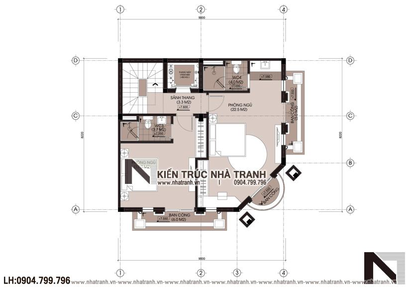 Ảnh: Mặt bằng tầng 3 mẫu thiết kế nhà lô góc 2 mặt tiền 5 tầng kiến trúc Pháp NT-L3673