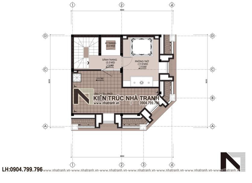 Ảnh: Mặt bằng tầng 5 mẫu thiết kế nhà lô góc 2 mặt tiền 5 tầng kiến trúc Pháp NT-L3673