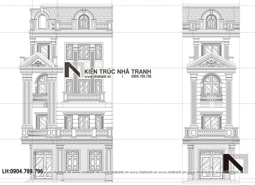 Ảnh: Mặt đứng điển hình mẫu thiết kế nhà lô góc 2 mặt tiền 5 tầng kiến trúc Pháp NT-L3673
