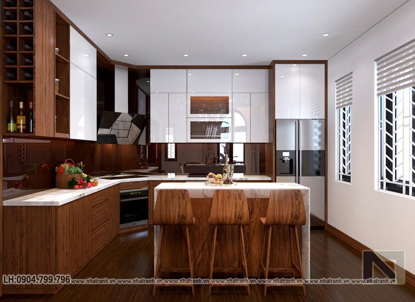 Ảnh: Phối cảnh nội thất phòng bếp ăn mẫu thiết kếnhà lô góc 2 mặt tiền 5 tầng kiến trúc Pháp NT-L3673