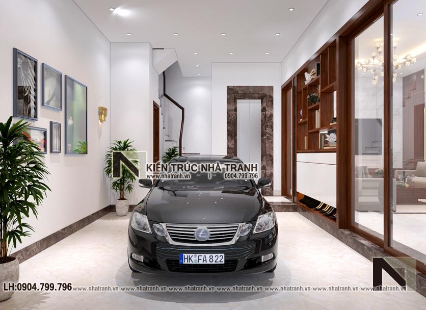 Ảnh: Phối cảnh nội thất không gian để xe mẫu thiết kếnhà lô góc 2 mặt tiền 5 tầng kiến trúc Pháp NT-L3673