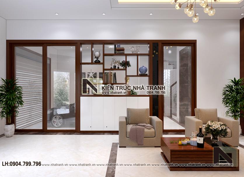 Ảnh: Phối cảnh nội thất phòng khách mẫu thiết kếnhà lô góc 2 mặt tiền 5 tầng kiến trúc Pháp NT-L3673