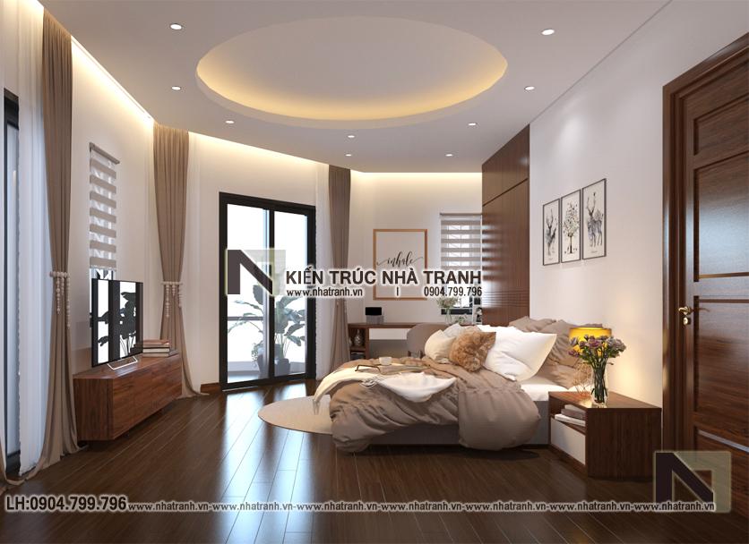 Ảnh: Phối cảnh nội thất phòng ngủ bố mẹ mẫu thiết kếnhà lô góc 2 mặt tiền 5 tầng kiến trúc Pháp NT-L3673