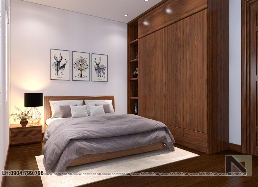 Ảnh: Phối cảnh nội thất phòng ngủ con mẫu thiết kếnhà lô góc 2mặt tiền 5 tầng kiến trúc Pháp NT-L3673