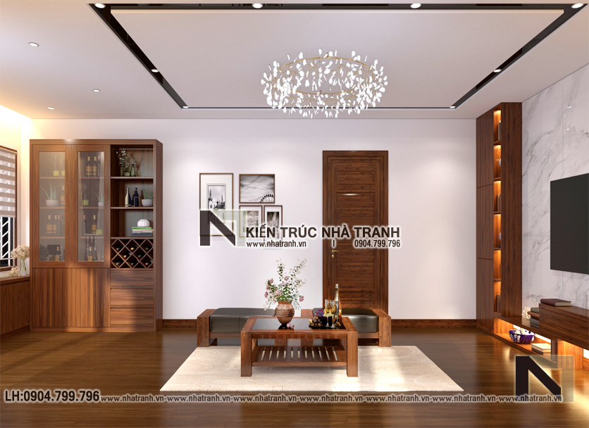 Ảnh: Phối cảnh nội thất phòng sinh hoạt chung mẫu thiết kếnhà lô góc 2 mặt tiền 5 tầng kiến trúc Pháp NT-L3673