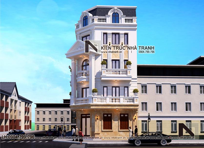 Ảnh: Phối cảnh 2 mẫu thiết kế nhà lô góc 2 mặt tiền 5 tầng kiến trúc Pháp NT-L3673