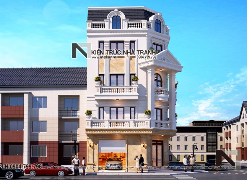 Ảnh: Phối cảnh 1 mẫu thiết kế nhà lô góc 2 mặt tiền 5 tầng kiến trúc Pháp NT-L3673