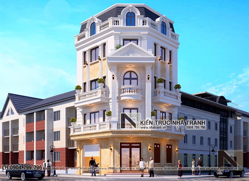 Ảnh: Phối cảnh tổng thể mẫu thiết kế nhà lô góc 2 mặt tiền 5 tầng kiến trúc Pháp NT-L3673