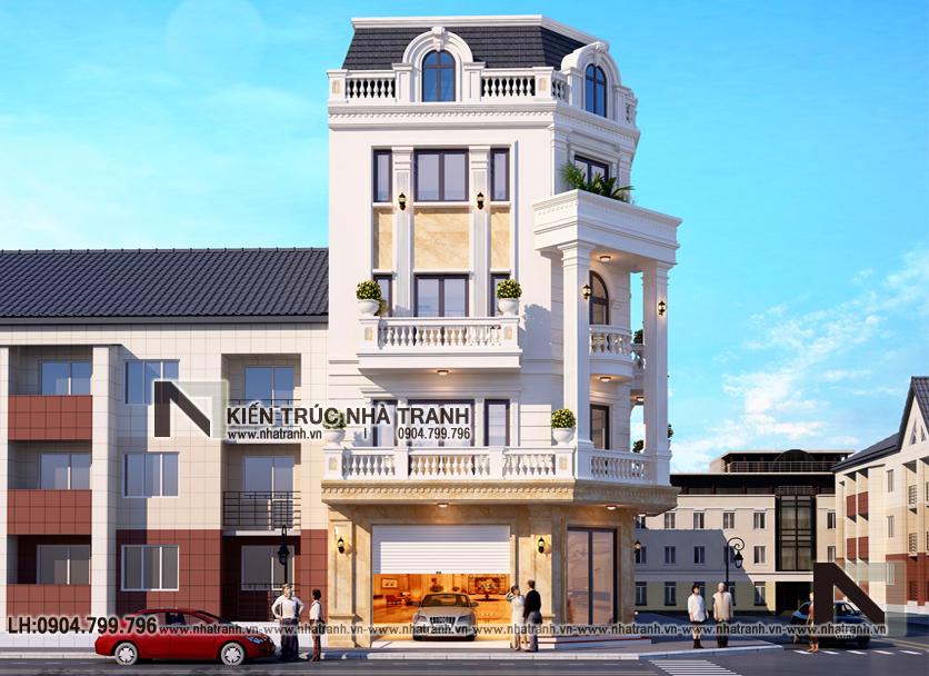 Ảnh: Phối cảnh 3 mẫu thiết kế nhà lô góc 2 mặt tiền 5 tầng kiến trúc Pháp NT-L3673