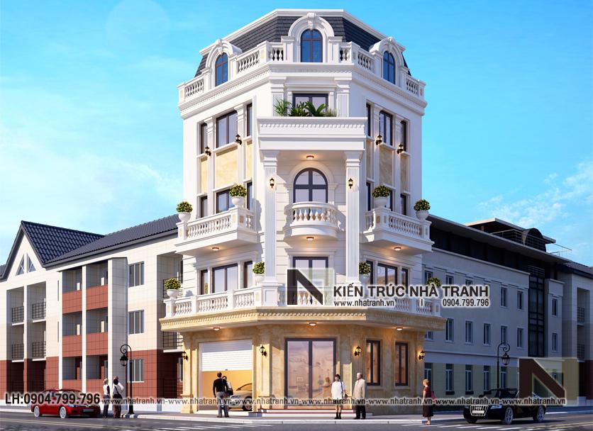 Ảnh: Phối cảnh 4 mẫu thiết kế nhà lô góc 2 mặt tiền 5 tầng kiến trúc Pháp NT-L3673