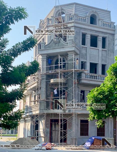 Ảnh: Hình ảnh thi công thực tế 04 mẫu thiết kếnhà lô góc 2mặt tiền 5 tầng kiến trúc Pháp NT-L3673