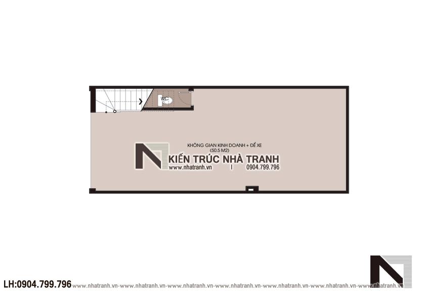 Ảnh: Mặt bằng quy hoạch tổng thể mẫu nhà lô phố 4 tầng mặt tiền 5m để ở kết hợp kinh doanh NT-L3677