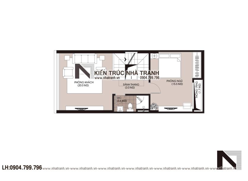 Ảnh: Mặt bằng tầng 2 mẫu nhà lô phố 4 tầng mặt tiền 5m để ở kết hợp kinh doanh NT-L3677