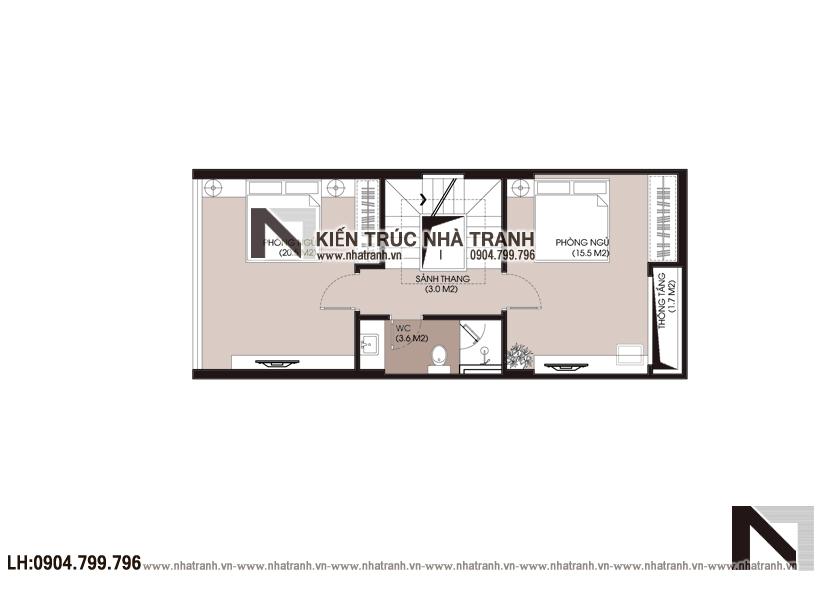 Ảnh: Mặt bằng tầng 3 mẫu nhà lô phố 4 tầng mặt tiền 5m để ở kết hợp kinh doanh NT-L3677