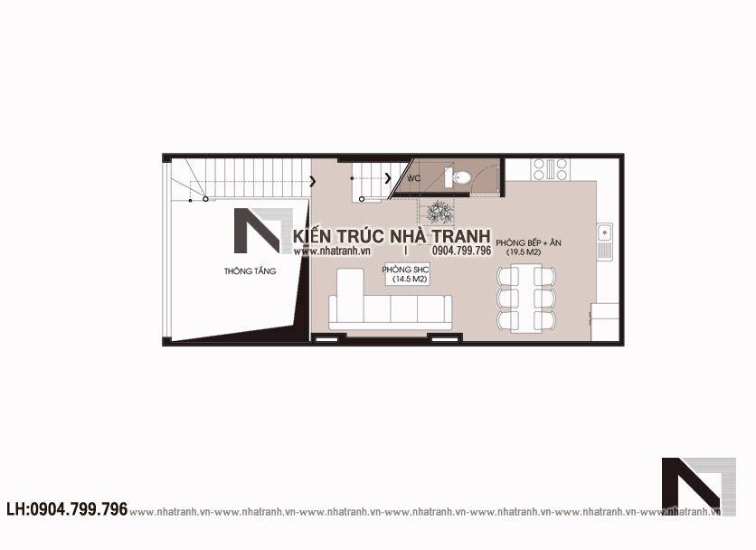 Ảnh: Mặt bằng tầng 1 mẫu nhà lô phố 4 tầng mặt tiền 5m để ở kết hợp kinh doanh NT-L3677