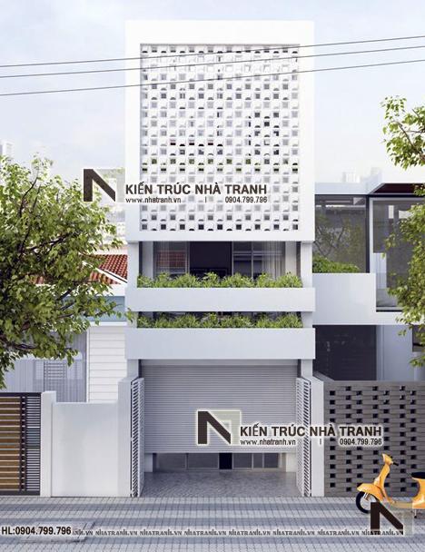 Ảnh: Phối cảnh tổng thể mẫu nhà lô phố 4 tầng mặt tiền 5m để ở kết hợp kinh doanh NT-L3677