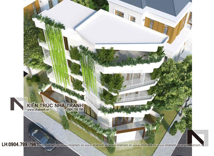 Ảnh: Mẫu thiết kế nhà lô góc 2 mặt tiền lệch tầng có nhiều cây xanh NT-L3680