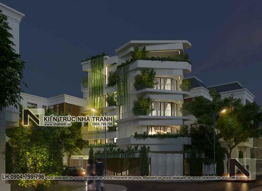 Ảnh: Phối cảnh tổng thể 03 mẫu nhà lô góc 2 mặt tiền 5 tầng lệch tầng có nhiều cây xanh NT-L3680