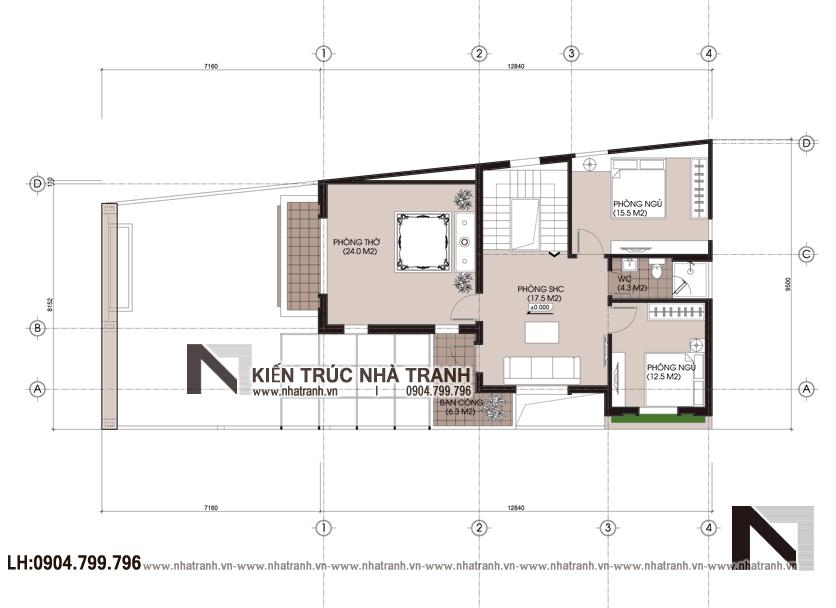 Ảnh: Mặt bằng chi tiết tầng 2 mẫu biệt thự lô góc 2 mặt tiền mái chéo 2 tầng hiện đại NT-B6382.