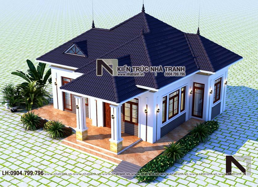 Ảnh: Phối cảnh tổng thể 1 mẫu thiết kế biệt thự vườn 1 tầng mái dốc kiến trúc hiện đại NT-B6383.