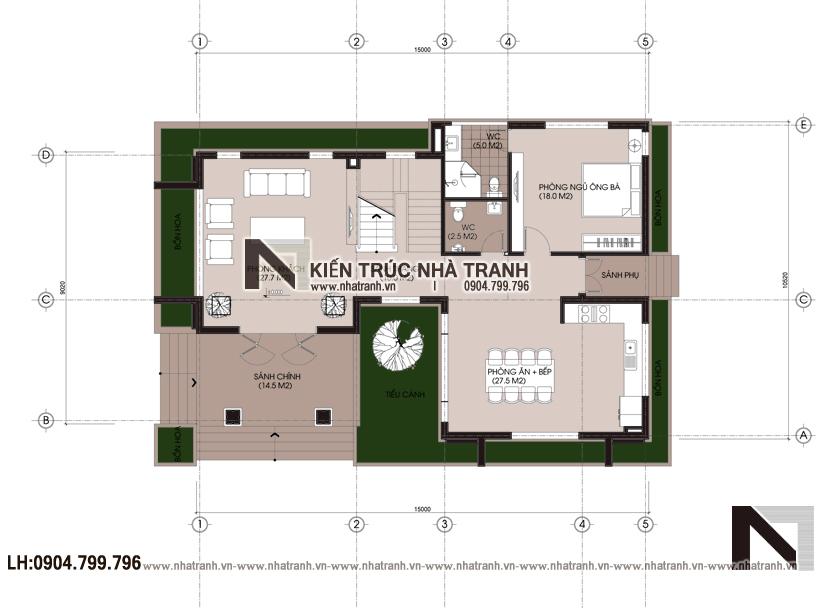 Ảnh: Mặt bằng quy hoạch tổng thể mẫu thiết kế biệt thự vườn 3 tầng mái dốc phong cách hiện đại NT-B6384