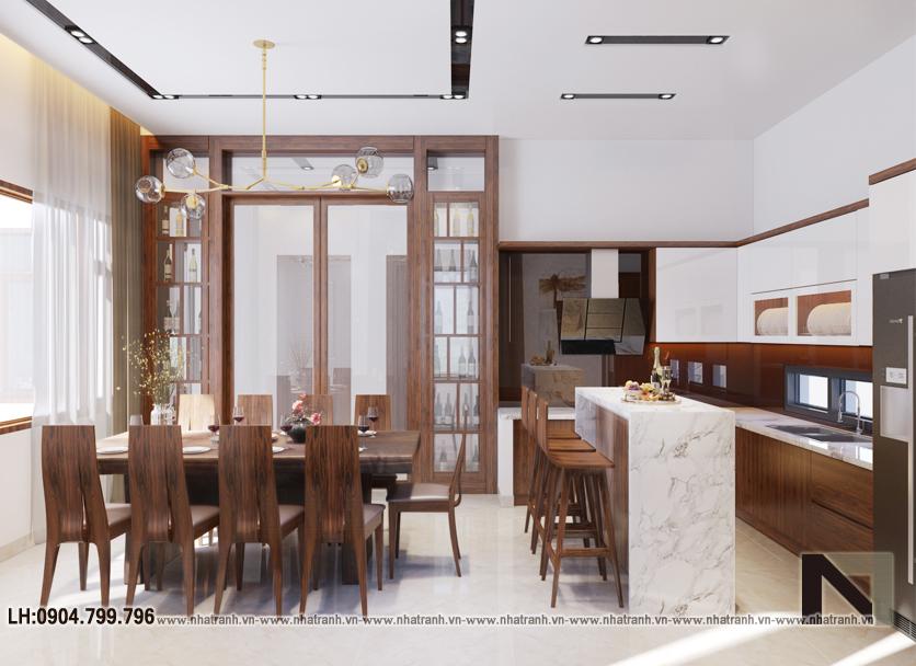 Ảnh: Hình ảnh thiết kế nội thất tầng 1 phòng bếp ăn mẫu thiết kế biệt thự vườn 3 tầng mái dốc phong cách hiện đại NT- B6384