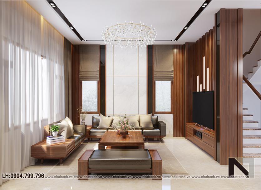 Ảnh: Hình ảnh thiết kế nội thất tầng 1, phòng khách mẫu thiết kế biệt thự vườn 3 tầng mái dốc phong cách hiện đại NT- B6384