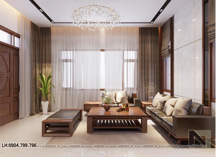 Ảnh: Hình ảnh thiết kế nội thất tầng 1, phòng khách, bếp, ăn, ngủ ông bà mẫu thiết kế biệt thự vườn 3 tầng mái dốc phong cách hiện đại NT- B6384