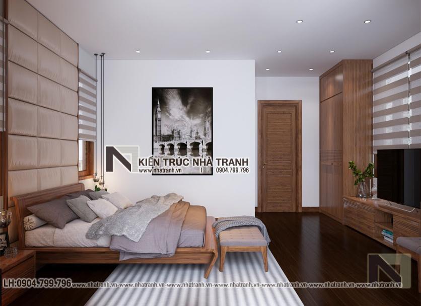 Ảnh: Hình ảnh thiết kế nội thất phòng ngủ bố mẹ mẫu thiết kế biệt thự vườn 3 tầng mái dốc phong cách hiện đại NT- B6384