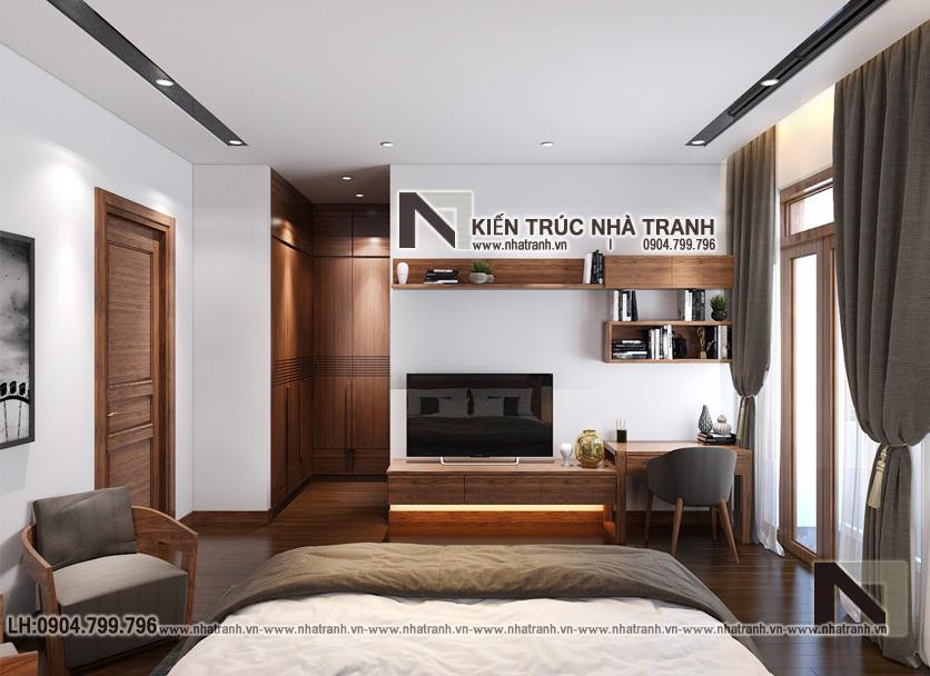 Ảnh: Hình ảnh thiết kế nội thất phòng ngủ con mẫu thiết kế biệt thự vườn 3 tầng mái dốc phong cách hiện đại NT- B6384