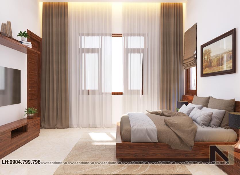 Ảnh: Hình ảnh thiết kế nội thất phòng ngủ mẫu thiết kế biệt thự vườn 3 tầng mái dốc phong cách hiện đại NT- B6384