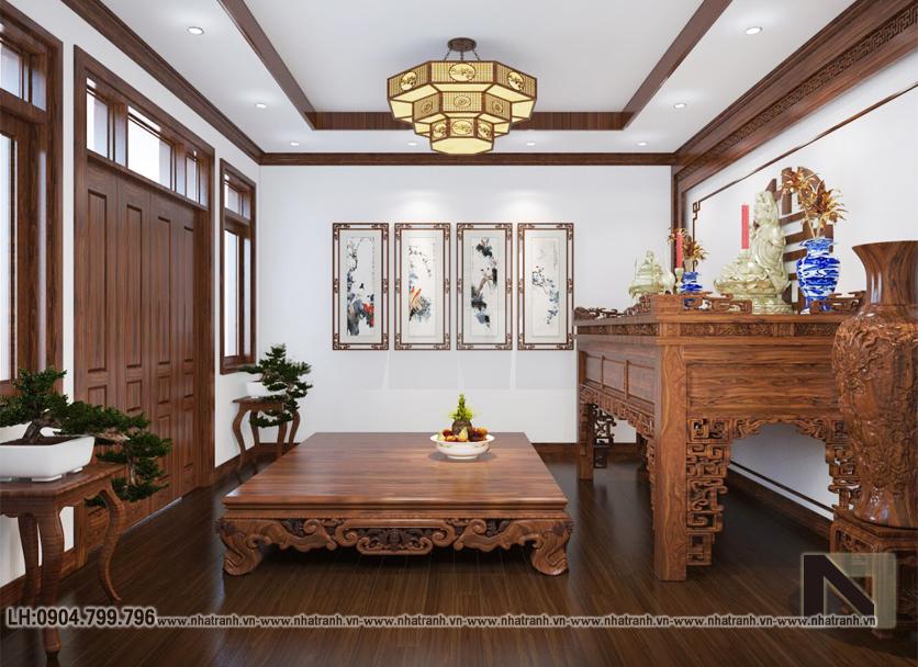 Ảnh: Hình ảnh thiết kế nội thất phòng thờ mẫu thiết kế biệt thự vườn 3 tầng mái dốc phong cách hiện đại NT- B6384