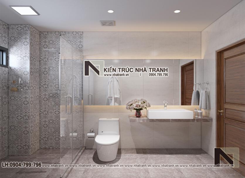 Ảnh: Hình ảnh thiết kế nội thất nhà vệ sinh mẫu thiết kế biệt thự vườn 3 tầng mái dốc phong cách hiện đại NT- B6384