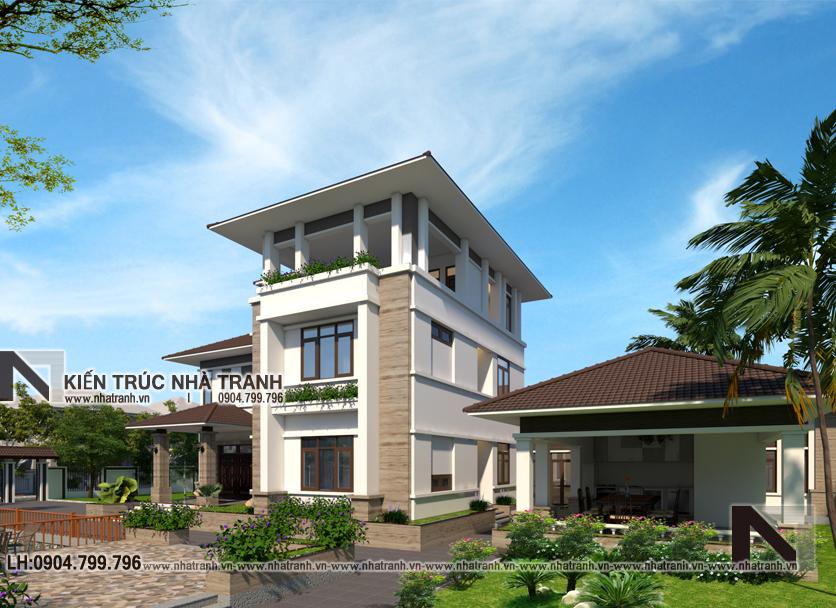 Ảnh: Phối cảnh tổng thể mẫu thiết kế biệt thự vườn 3 tầng mái dốc phong cách hiện đại NT-B6384