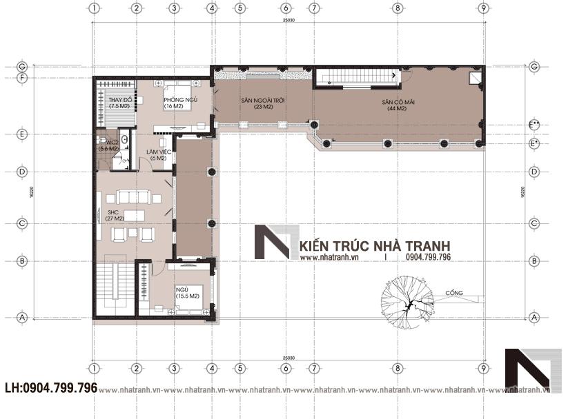 Ảnh: Mặt bằng chi tiếtmẫu thiết kế cải tạo biệt thự vườn 3 tầng kiến trúc Pháp có hành lang nối NT- B6385