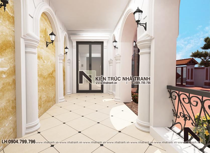 Ảnh: Phối cảnh tổng thể mẫu thiết kế cải tạo biệt thự vườn 3 tầng kiến trúc Pháp có hành lang nối NT- B6385