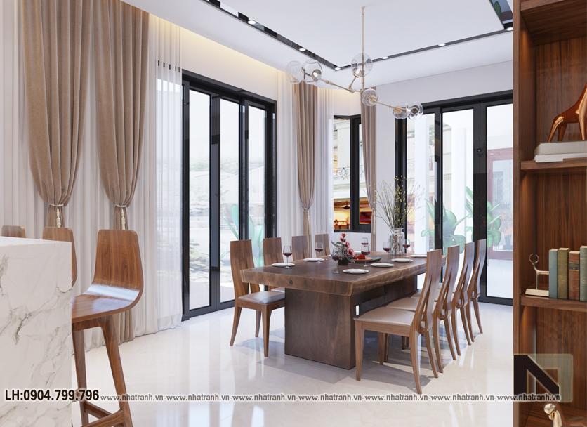 Ảnh: Phối cảnh nội thất phòng bếp ăn mẫu thiết kế cải tạo biệt thự vườn 3 tầng kiến trúc Pháp có hành lang nối NT- B6385