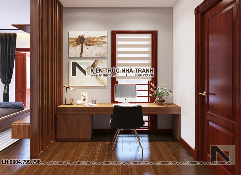 Ảnh: Phối cảnh nội thất phòng ngủ - làm việc mẫu thiết kế cải tạo biệt thự vườn 3 tầng kiến trúc Pháp có hành lang nối NT- B6385