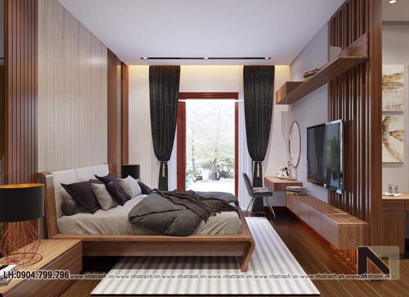Ảnh: Phối cảnh nội thất phòng ngủ mẫu thiết kế cải tạo biệt thự vườn 3 tầng kiến trúc Pháp có hành lang nối NT- B6385