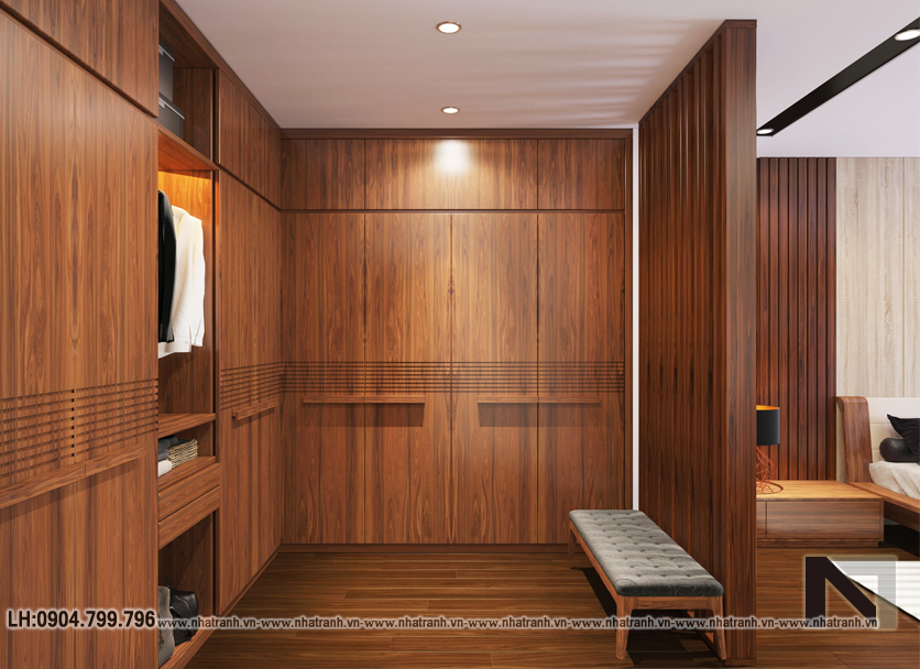 Ảnh: Phối cảnh nội thất phòng thay đồ mẫu thiết kế cải tạo biệt thự vườn 3 tầng kiến trúc Pháp có hành lang nối NT- B6385