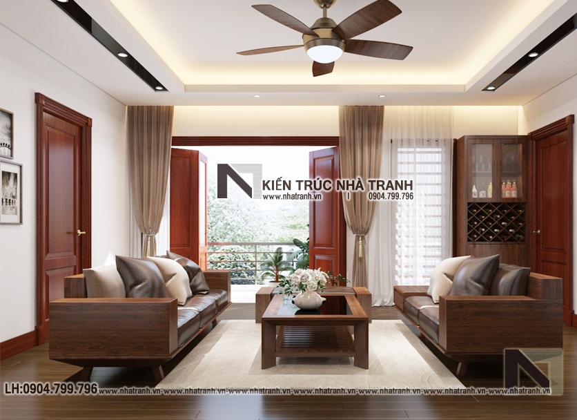 Ảnh: Phối cảnh nội thất phòng kháchmẫu thiết kế cải tạo biệt thự vườn 3 tầng kiến trúc Pháp có hành lang nối NT- B6385